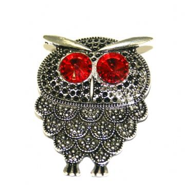 1 x Antique Silver Owl Pendant with Red Eyes 53mm - S.F03 - WA215 - 1411123